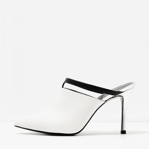 White Pointy Toe Cut out Stiletto Heels