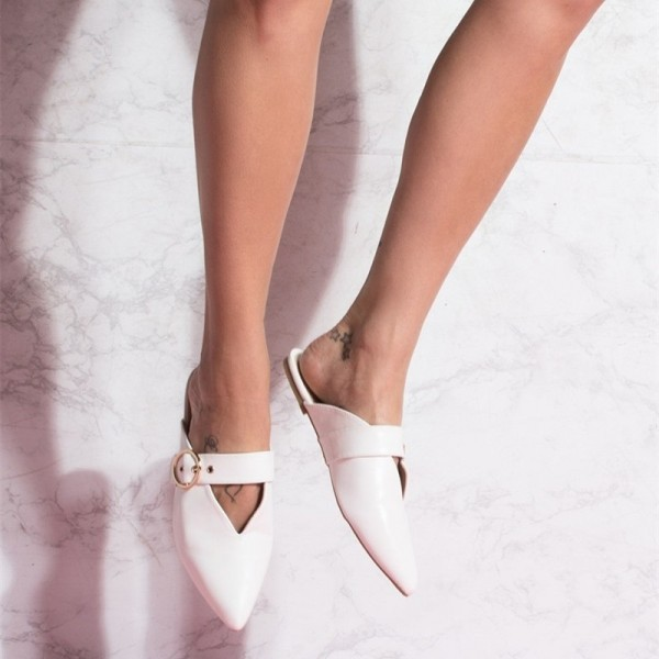 White Pointy Toe Flats Mule Sandals Comfortable Flats with Buckle image 4