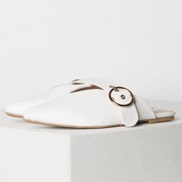 White Pointy Toe Flats Mule Sandals Comfortable Flats with Buckle image 2