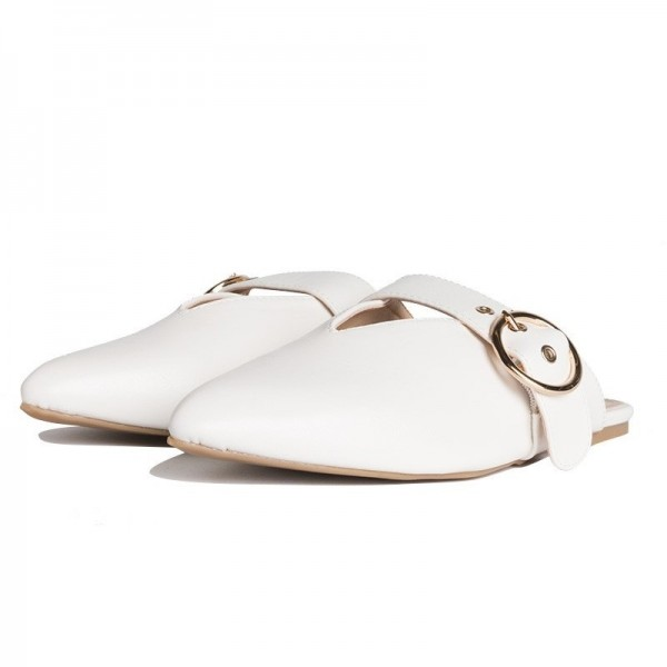 White Pointy Toe Flats Mule Sandals Comfortable Flats with Buckle image 3
