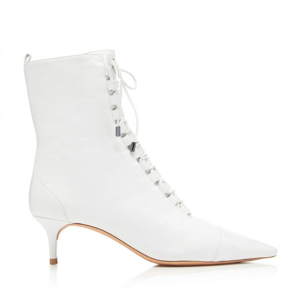 White Pointy Toe Kitten Heel Boots Lace up Ankle Booties with Zipper image 2