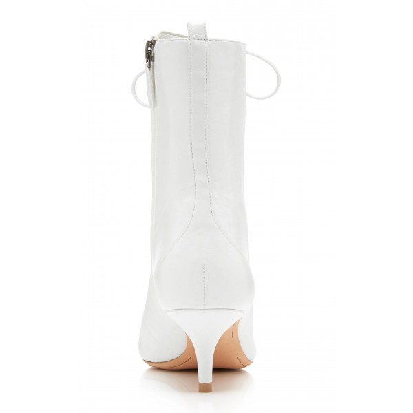 White Pointy Toe Kitten Heel Boots Lace up Ankle Booties with Zipper image 4