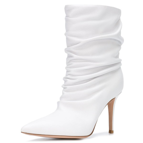 White Pointy Toe Stiletto Boots Fashion Slouch Boots image 1