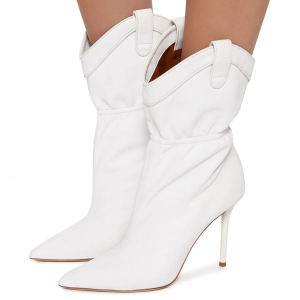 White Pointy Toe Stiletto Heel Fashion Boots image 2