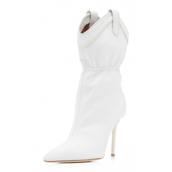 White Pointy Toe Stiletto Heel Fashion Boots image 1