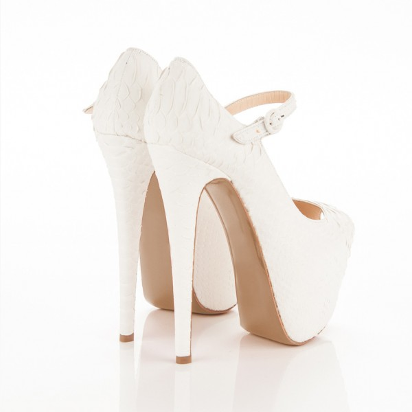 White Python Platform Heel Mary Jane Pumps Stripper Shoes image 2