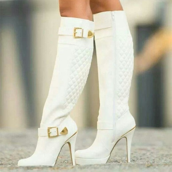 White Quilted Buckles Knee High Heel Boots Stilettos