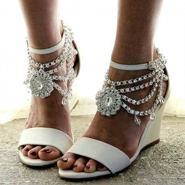 White Rhinestone Ankle Strap Wedding Wedges Sandals image 1