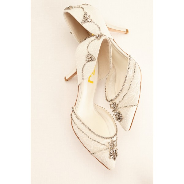 Lace Ivory Wedding Shoes Rhinestone Low Heel Bridal Shoes image 3