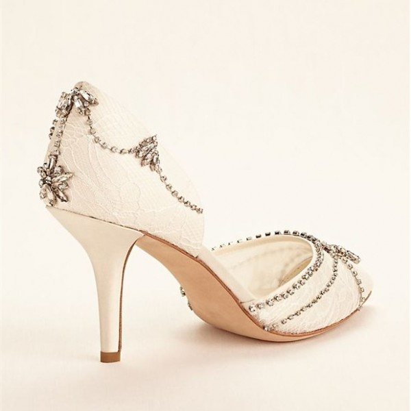 Lace Ivory Wedding Shoes Rhinestone Low Heel Bridal Shoes image 5