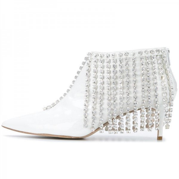 White Rhinestone Fringe Ankle Booties Pointy Toe Kitten Heels Boots image 1
