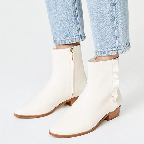 Ivory Round Toe Block Heel Boots Ruffle Ankle Booties with Zipper image 1