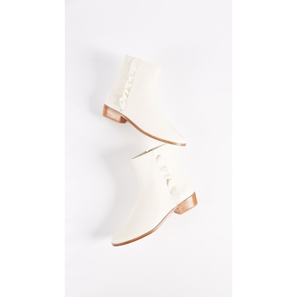 Ivory Round Toe Block Heel Boots Ruffle Ankle Booties with Zipper image 3