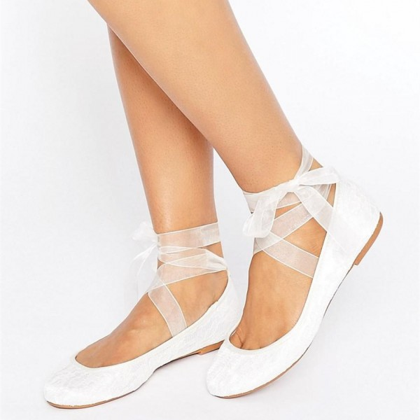 White Lace Ballet Flats Silk Ribbon Strappy Wedding Shoes image 1