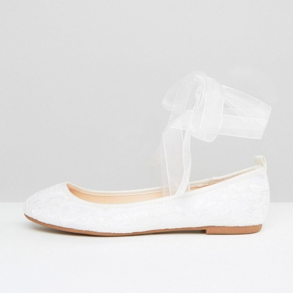 White Lace Ballet Flats Silk Ribbon Strappy Wedding Shoes image 2