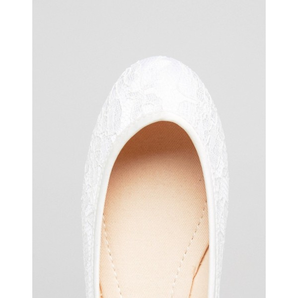 White Lace Ballet Flats Silk Ribbon Strappy Wedding Shoes image 3