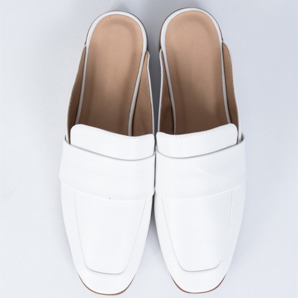 White Loafer Mules Square Toe Comfy Flat Loafers for Women image 3