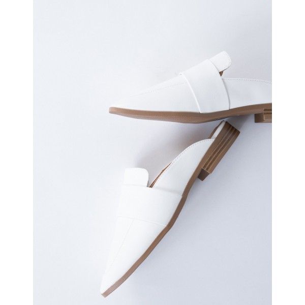 White Loafer Mules Square Toe Comfy Flat Loafers for Women image 4