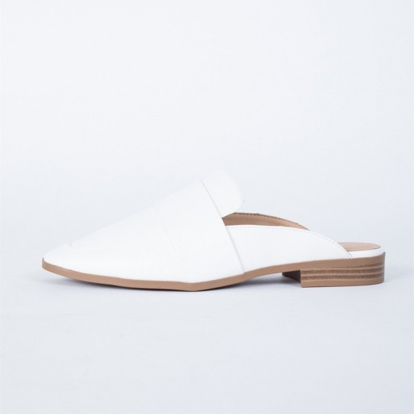 White Loafer Mules Square Toe Comfy Flat Loafers for Women image 2