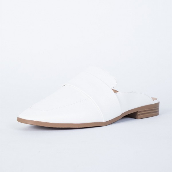 White Loafer Mules Square Toe Comfy Flat Loafers for Women image 5