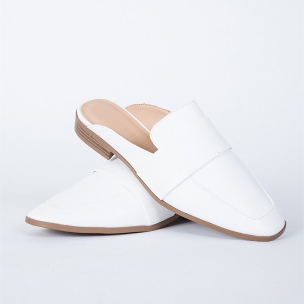 White Loafer Mules Square Toe Comfy Flat Loafers for Women image 1