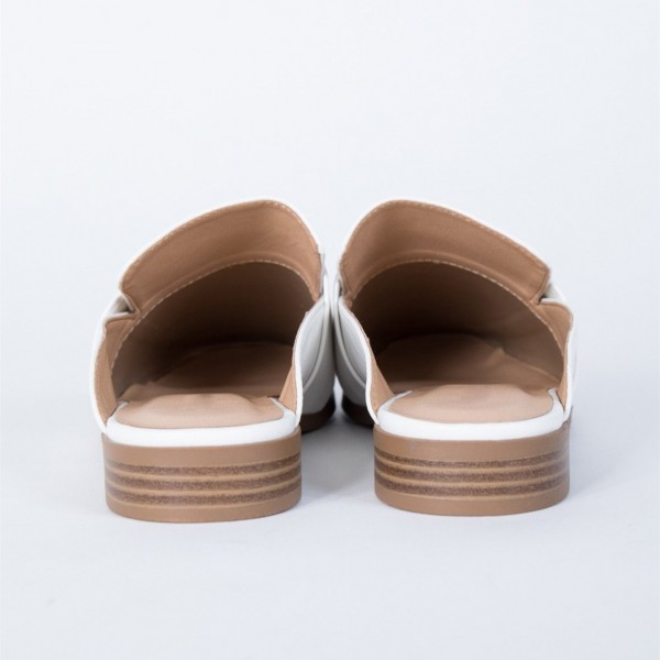 White Loafer Mules Square Toe Comfy Flat Loafers for Women image 6