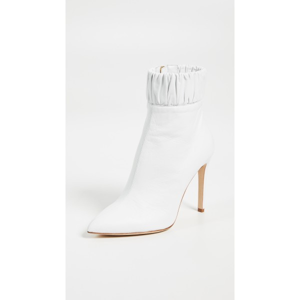 White Fall Boots Pointy Toe Elastic Stiletto Heel Ankle Booties image 3