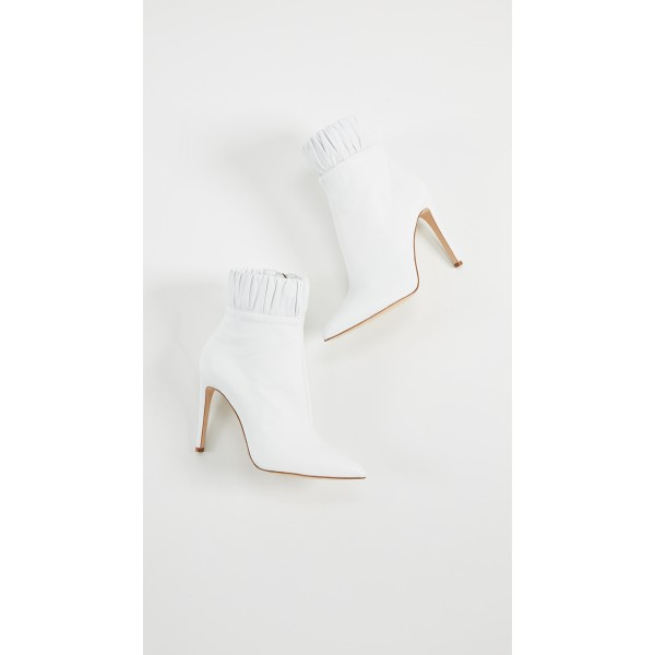 White Fall Boots Pointy Toe Elastic Stiletto Heel Ankle Booties image 4