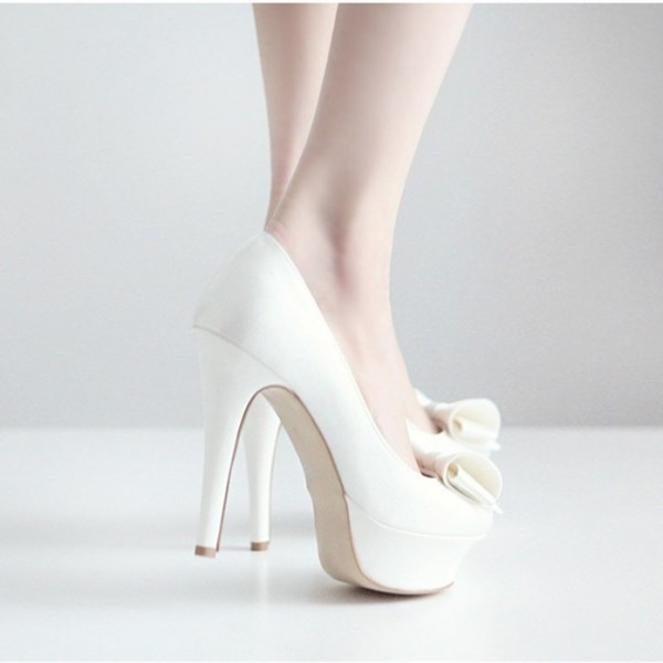 Women's Lillian White Platform Bows Stiletto Heel Pumps Bridal Heels image 5