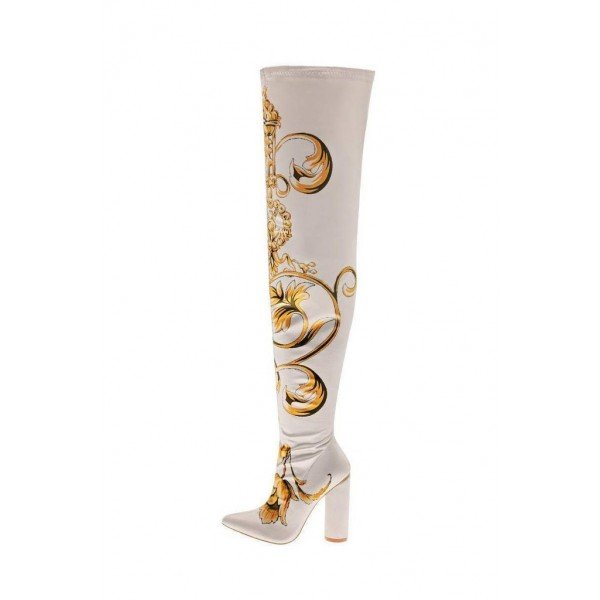 Women's Satin Floral Chunky Heel Boots Thigh High Boots image 2