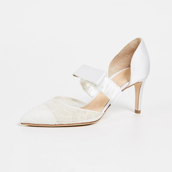 White Satin Lace Mary Jane Bow Stiletto Heel Wedding Shoes image 1