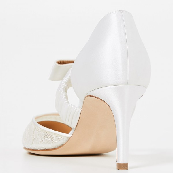 White Satin Lace Mary Jane Bow Stiletto Heel Wedding Shoes image 3