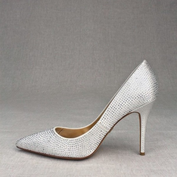 White Satin Rhinestone Wedding Shoes Pointed Toe Stiletto Heel Pumps image 1