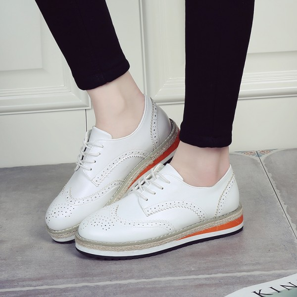 White School Shoes Lace-up Vintage Oxfords for Female image 2