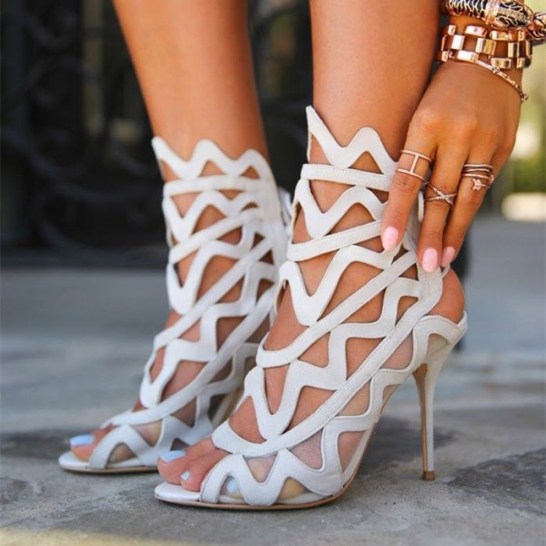 Women's White Slingback Heels Hollow out Caged Sandals Stiletto Heels image 1