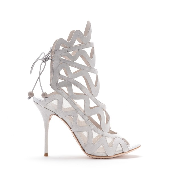 Women's White Slingback Heels Hollow out Caged Sandals Stiletto Heels image 4