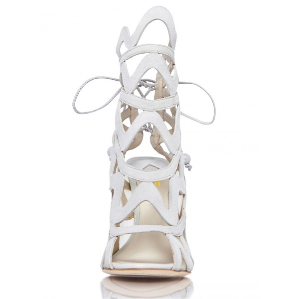 Women's White Slingback Heels Hollow out Caged Sandals Stiletto Heels image 5