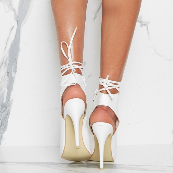 White Front Lace up Heels Peep Toe Strappy Stiletto Heels image 2