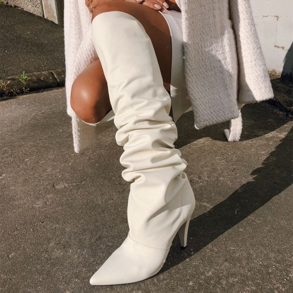 White Slouch Boots Chunky Heel Knee High Boots For Work