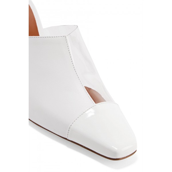 White Square Toe Cone Heels Mule Clear Shoes image 3