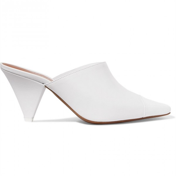 White Square Toe Cone Heels Mule Clear Shoes image 4