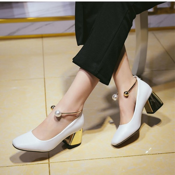White Ankle Strap Heels Cute Block Heel Pumps with Pearls image 3