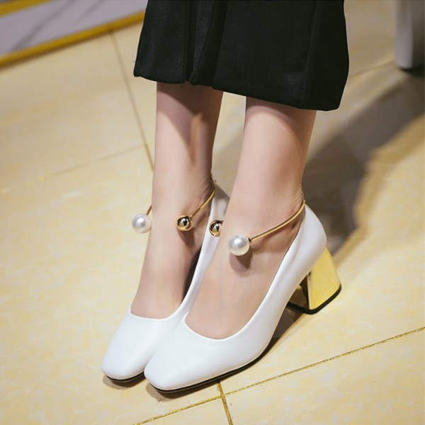 White Ankle Strap Heels Cute Block Heel Pumps with Pearls image 2