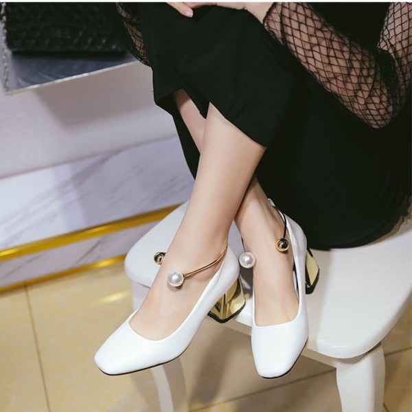 White Ankle Strap Heels Cute Block Heel Pumps with Pearls image 4
