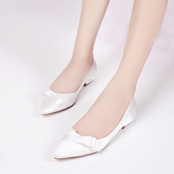White Satin Wedding Flats Bow Detailed Pointy Toe Flats image 1