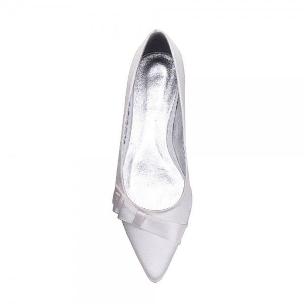 White Satin Wedding Flats Bow Detailed Pointy Toe Flats image 2