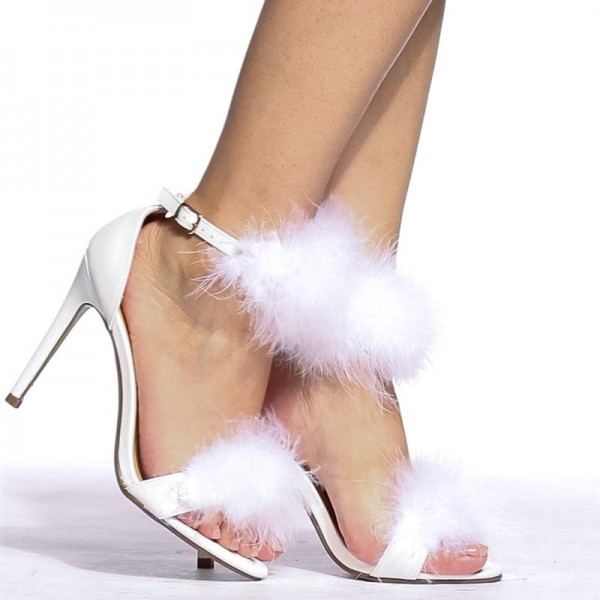 White Furry Heels Ankle Strap Open Toe Stiletto Heel Sandals image 2