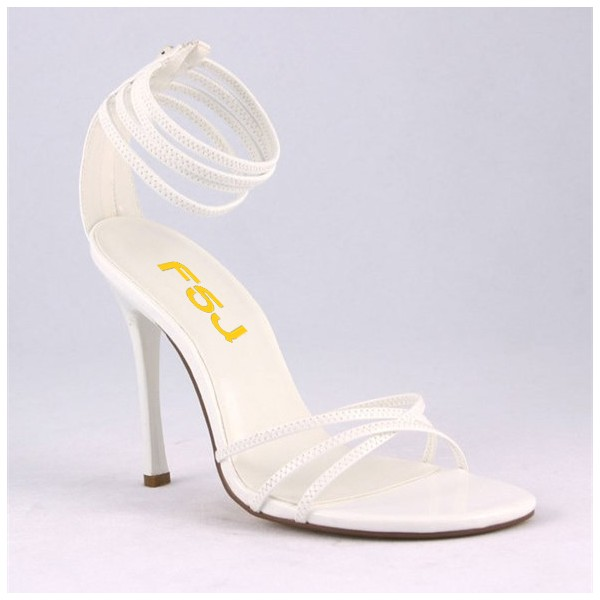 2019 White Strappy Sandals Open Toe Ankle Strap Stiletto Heels Shoes image 3