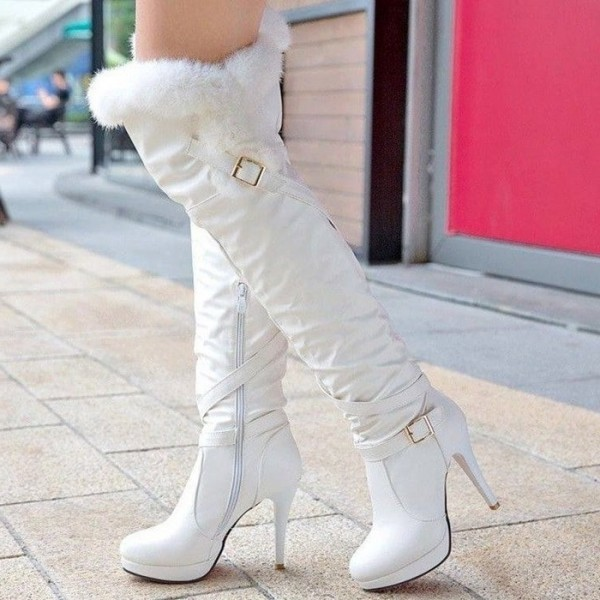 White Stiletto Heels Platform Fur Boots Buckle Over-the-knee Boots image 1