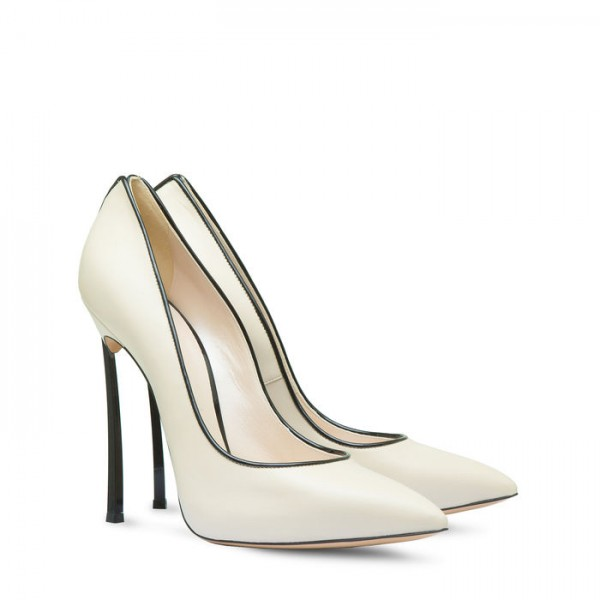White  Stiletto Heels  Pointy Toe Commuting Pumps For Women image 3